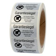 sealing label, Garantiesiegel-Garantie erlischt bei beschädigtem Siegel, polyester checkerboard, silver-black, 50.8 x 25.4 mm, 1000 labels