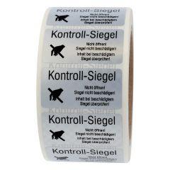 sealing label, Kontroll-Siegel -Nicht öffnen! Siegel nicht beschädigen, polyester checkerboard, silver-black, 50.8 x 25.4 mm, 1000 labels