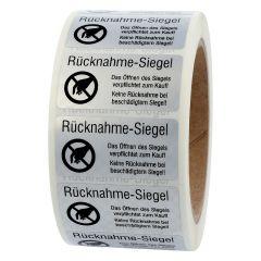 sealing label, Rücknahme-Siegel - Öffnen verpflichtet zum Kauf, polyester checkerboard, silver-black, 50.8 x 25.4 mm, 1000 labels