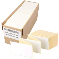 Thermoetiketten Eco, weiß, permanent klebend, Trägerperforation, 102 x 152 mm, 2000 Falzetiketten in 1 Packung