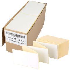 Thermoetiketten Eco, weiß, permanent klebend, Trägerperforation, 103 x 150 mm, 2000 Falzetiketten in 1 Packung