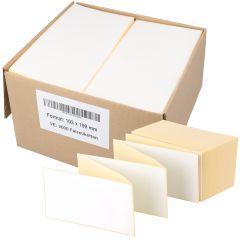 Thermoetiketten Eco, weiß, permanent klebend, Trägerperforation, 103 x 199 mm, 2000 Falzetiketten in 1 Packung