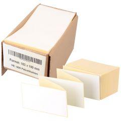 Thermoetiketten Eco, weiß, permanent klebend, Trägerperforation, 103 x 199 mm, 500 Falzetiketten in 1 Packung