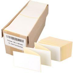 Thermoetiketten Eco, weiß, permanent klebend, Trägerperforation, 105 x 148 mm, 2000 Falzetiketten in 1 Packung