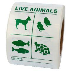 Transportaufkleber, Polypropylen, weiß-grün, 100 x 150 mm, enthält lebende Tiere