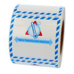 Transportaufkleber, IATA, Polyethylen, weiß-schwarz, 100 x 100 mm, Temperatursensible Güter