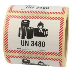 Transportaufkleber, ADR Sondervorschrift 188, Polyethylen, weiß-schwarz/rot, 100 x 70 mm, enthält Lithium Ionen Batterien, Akku