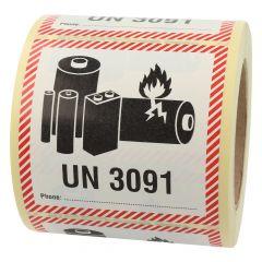 Transportaufkleber, ADR Sondervorschrift 188, Polypropylen, weiß-schwarz/rot, 100 x 100 mm, enthält Lithium Metall Batterien