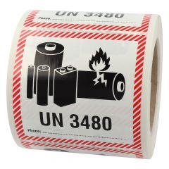 Transportaufkleber, ADR Sondervorschrift 188, Polypropylen, weiß-schwarz/rot, 100 x 100 mm, enthält Lithium Ionen Batterien, Akku