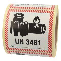 Transportaufkleber, ADR Sondervorschrift 188, Papier, weiß-schwarz/rot, 100 x 100 mm, enthält Lithium Ionen Batterien, Akku