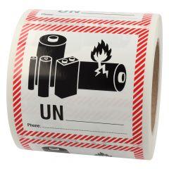 Transportaufkleber, ADR Sondervorschrift 188, Papier, weiß-schwarz/rot, 100 x 100 mm, enthält Lithium Ionen oder Metall Batterien, Akku