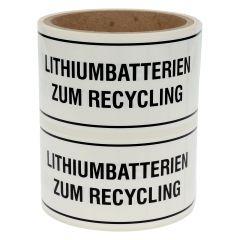 Transportaufkleber, Polypropylen, weiß-schwarz, 150 x 50 mm, Lithium-Batterien