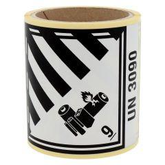 Gefahrgutetiketten, Lithium-Batterien, 9-UN3090, Papier, weiß/schwarz-schwarz, 100 x 120 mm, 100 Etiketten