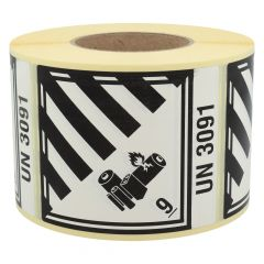 Gefahrgutetiketten, Lithium-Batterien, 9-UN3091, Papier, weiß/schwarz-schwarz, 100 x 120 mm, 1000 Etiketten