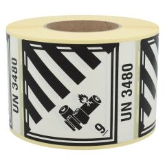 Gefahrgutetiketten, Lithium-Batterien, 9-UN3480, Papier, weiß/schwarz-schwarz, 100 x 120 mm, 1000 Etiketten