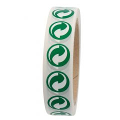 Green Dot, environmental label / packaging label, polyester, white-green, Ø 20 mm, 1000 labels