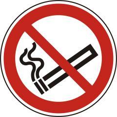 Rauchen verboten, Verbotszeichen, P002, ASR A1.3, DIN EN ISO 7010, Polypropylen, weiß - schwarz/rot, Ø 100 mm