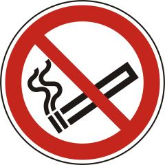 Rauchen verboten, Verbotszeichen, P002, ASR A1.3, DIN EN ISO 7010, Polypropylen, weiß - schwarz/rot, Ø 200 mm