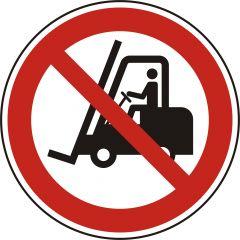 für Flurförderzeuge verboten, Verbotszeichen, P006, ASR A1.3, DIN EN ISO 7010, Polypropylen, weiß - schwarz/rot, Ø 50 mm