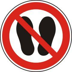 no step, prohibited sign, P024, ASR A1.3, DIN EN ISO 7010, polypropylene, white - black/red, Ø 50 mm