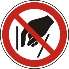 do not reach inside, prohibited sign, P015, ASR A1.3, DIN EN ISO 7010, polypropylene, white - black/red, Ø 50 mm