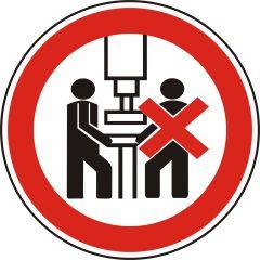Maschine darf nur von einer Person bedient werden, Verbotszeichen, Polypropylen, weiß - schwarz/rot, Ø 100 mm