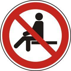 Sitzen verboten, Verbotszeichen, P018, ASR A1.3, DIN EN ISO 7010, Polypropylen, weiß - schwarz/rot, Ø 20 mm