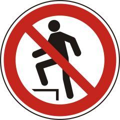 Aufsteigen verboten, Verbotszeichen, P019, ASR A1.3, DIN EN ISO 7010, Polypropylen, weiß - schwarz/rot, Ø 100 mm