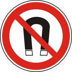 Magnete verboten, Verbotszeichen, Polypropylen, weiß - schwarz/rot, Ø 50 mm