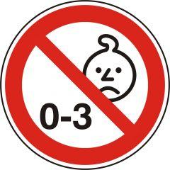 Nicht für Kinder unter drei Jahren geeignet, Verbotszeichen, Polypropylen, weiß - schwarz/rot, Ø 20 mm