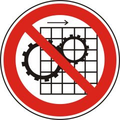 do not remove protective devices, prohibited sign, polypropylene, white - black/red, Ø 50 mm