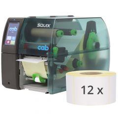 CAB SQUIX 4 Etikettendrucker-Set, 300 dpi, Basisgerät mit Spendelichtschranke und Lineraufwickler