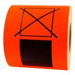 Versandetikett, Papier, leuchtrot-schwarz, 148 x 210 mm, Übereinander stapeln verboten, 500 Etiketten