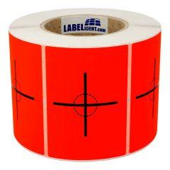 Versandetikett, Papier, leuchtrot-schwarz, 74 x 105 mm, Schwerpunkt hier, 1000 Etiketten
