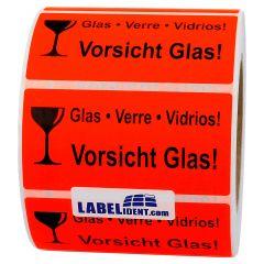 package handling label, paper, bright red, 100 x 50 mm, Vorsicht Glas - Verre - Vidrios, black, 1000 labels