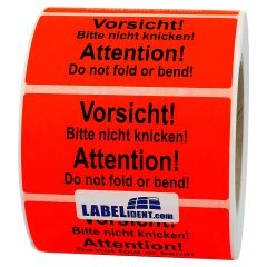 package handling label, paper, bright red, 100 x 50 mm, Vorsicht/Nicht knicken/Do not fold or bend, black, 1000 labels