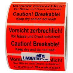 Versandetikett, Papier, leuchtrot, 100 x 50 mm, Zerbrechlich Vor Naesse Druck schuetzen Breakable keep dry, schwarz, 1000 Etiketten