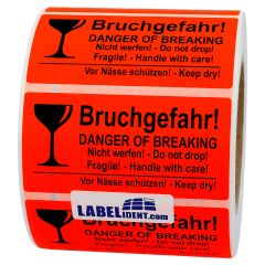 package handling label, paper, bright red, 100 x 50 mm, Danger of breaking/Do not drop/Handle with care/Keep dry, black, 1000 labels