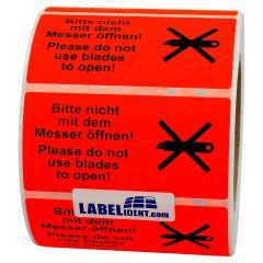 package handling label, paper, bright red, 100 x 50 mm, Nicht mit dem Messer öffnen/Do not use blades to open, black, 1000 labels