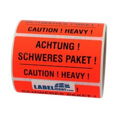 package handling label, paper, bright red, 100 x 50 mm, Achtung! Schweres Paket! Caution! Heavy!, black, 1000 labels