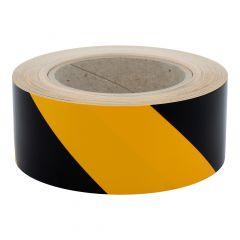 floor marking ribbon, polyethylene, signal yellow-black, 50 mm, left-pointing, 33 rm