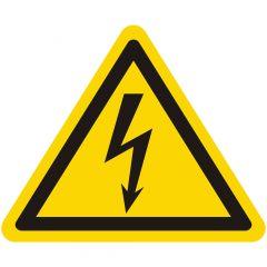 Warnung gefährliche elektrische Spannung, Warnzeichen W012, ASR A1.3, Vinyl, gelb-schwarz, Seitenlänge: 25 mm