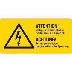 Warnung elektrische Spannung, Warnzeichen, Vinyl, gelb-schwarz, 74 x 37 mm, Achtung! Hauptschalter unter Spannung
