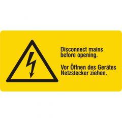 Warnung elektrische Spannung, Warnzeichen, Vinyl, gelb-schwarz, 74 x 37 mm, Vor Öffnen des Gerätes Netzstecker ziehen.
