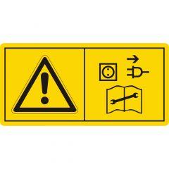 Vor Arbeiten Motor abstellen und Netzstecker ziehen, Warnzeichen, Vinyl, gelb-schwarz, 74 x 37 mm