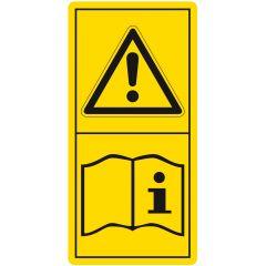 Betriebsanleitungen/ Sicherheitshinweise lesen und beachten, Warnzeichen, Vinyl, gelb-schwarz, 25,4 x 50,8 mm