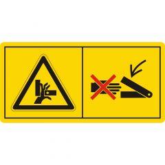 Niemals in den Quetschgefahrenbereich greifen, solange sich dort Teile bewegen, Warnzeichen, Vinyl, gelb-schwarz/rot, 74 x 37 mm