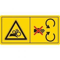 Niemals in den Quetschgefahrenbereich greifen, solange sich dort Teile bewegen, Warnzeichen, Vinyl, gelb-schwarz/rot, 105 x 52 mm