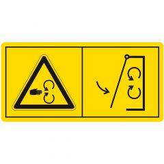 Schutzeinrichtungen vor Inbetriebnahme der Maschine schließen, Warnzeichen, Vinyl, gelb-schwarz, 52 x 105 mm