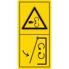 Schutzeinrichtungen vor Inbetriebnahme der Maschine schließen, Warnzeichen, Vinyl, gelb-schwarz, 105 x 52 mm